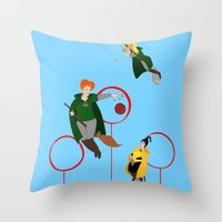 quidditch Throw Pillows featuring Quidditch Sisters  by Katá Mart