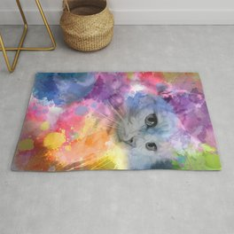 Paint with Colorful Cat Rug