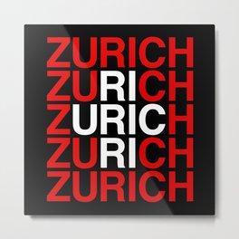 ZURICH Swiss Flag Metal Print
