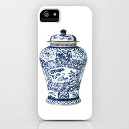 Blue & White Chinoiserie Cranes Porcelain Ginger Jar iPhone Case