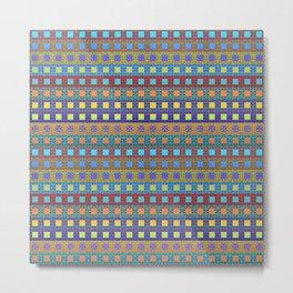 Retro Colors Geometric Stripes Metal Print