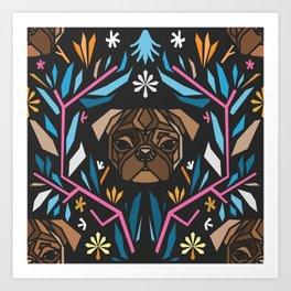 Pug Paper Art Print