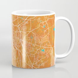 Durham, NC, USA, Gold, Blue, City, Map Coffee Mug