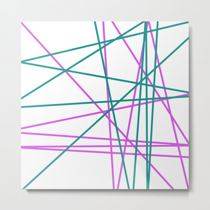 Green, Pink lines Metal Print