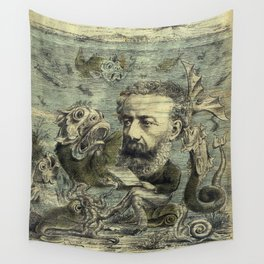 Vintage Jules Verne Periodical Cover Wall Tapestry