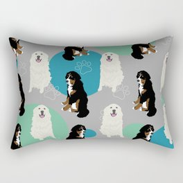 Great Pyrenees and Bernese Mountain Dogs Pattern Rectangular Pillow