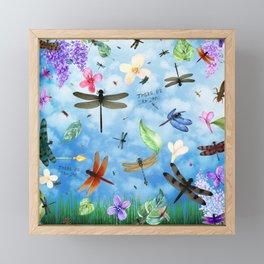 There Be Dragons Whimsical Dragonfly Art Framed Mini Art Print