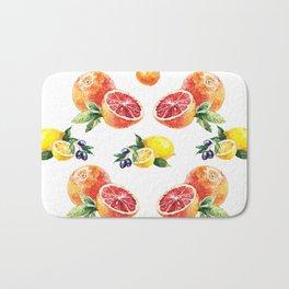 Lemon, Orange, Tangerine, Blood Orange in Watercolor Bath Mat