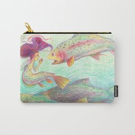 Rainbow Trout Mermaid Illustration Carry-All Pouch