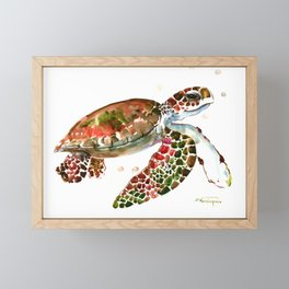 Sea Turtle, Brown, Olive green Pink Shades Framed Mini Art Print