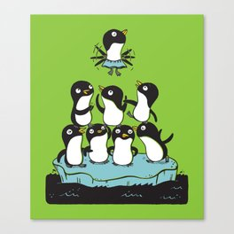 Penguin Pyramid - Green Canvas Print