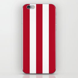 Cadmium purple red - solid color - white vertical lines pattern iPhone Skin