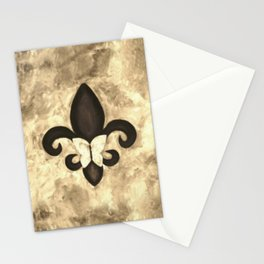 Sepia Gold and Brown Fleur de Lis with Butterfly Stationery Cards