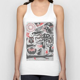 Forest and animals illustration Unisex Tank Top