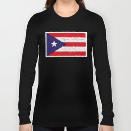 Puerto Rican flag with distressed textures Long Sleeve T-shirt