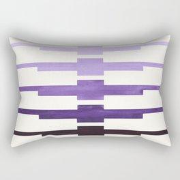 Mid Century Minimalist Ancient Aztec Inca Geometric Pattern Watercolor Purple Colorful Gouache Paint Rectangular Pillow