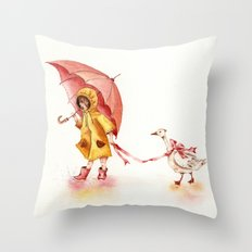 Rainy Day - Girl in a Yellow Rain Coat with Read Umbrella and with a Goose Throw Pillow