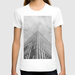 Freedom Tower Looking Up   New York City   Black and White Photography  T-shirt