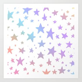 Lavender pink coral watercolor hand painted stars Art Print
