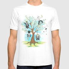 Les Petits - Apple Tree White Mens Fitted Tee MEDIUM