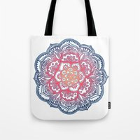 bedding Tote Bags featuring Radiant Medallion Doodle by micklyn