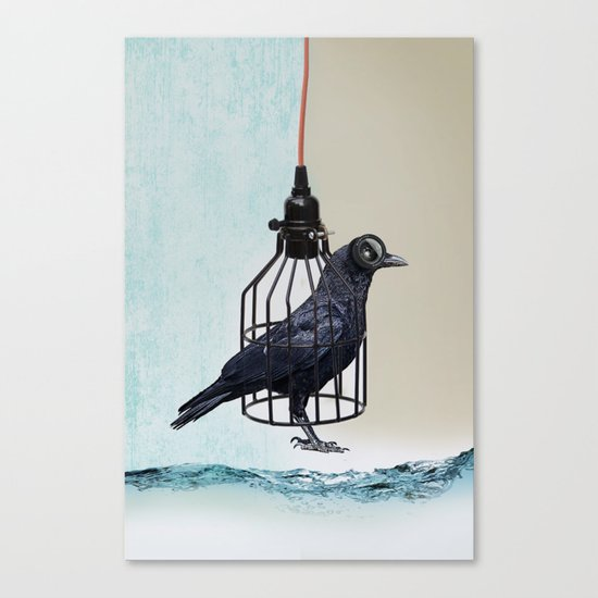 bird in the wire Canvas Print
