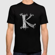 K White on Black SMALL Black Mens Fitted Tee