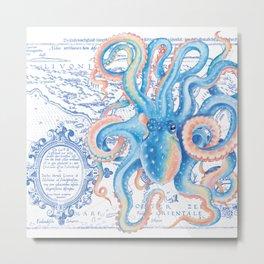 Octopus Tentacles Blue Vintage Map Metal Print