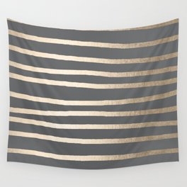 Simply Drawn Stripes White Gold Sands on Storm Gray Wall Tapestry