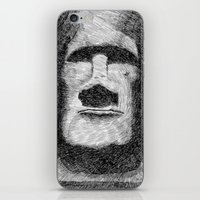 island iPhone & iPod Skins featuring Easter island - Moai statue - Ink by Nicolas Jolly