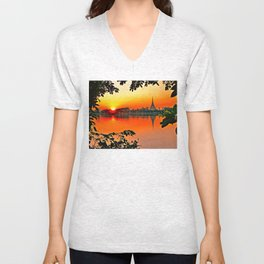 Sunset Leaves. Unisex V-Neck