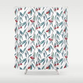Eucalyptus leaves and flowers on light Shower Curtain