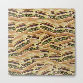 Vintage Cheeseburger Pile Print Metal Print
