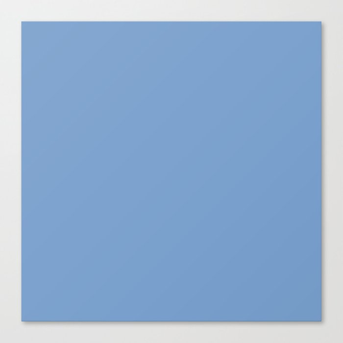 Dark Chalky Pastel Blue Solid Color Canvas Print