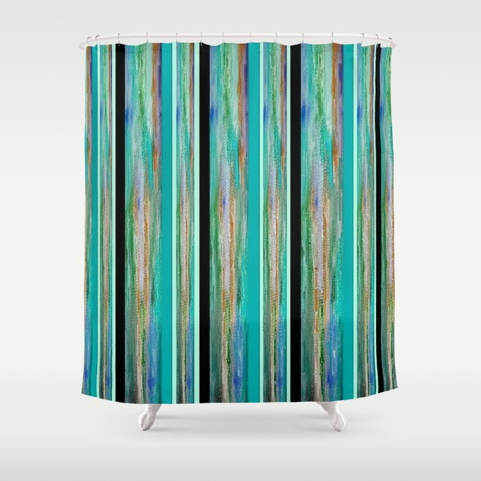 Energy In Green Blue Black And Gold Shower Curtain By Jenartanddesign