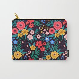 25 Amazing floral pattern with bright colorful flowers. Dark background. Carry-All Pouch