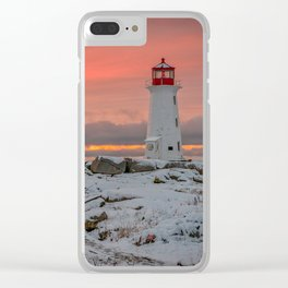 Peggys Winter Sunset Clear iPhone Case