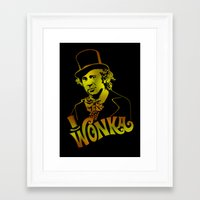 willy wonka Framed Art Prints featuring W gold by Buby87
