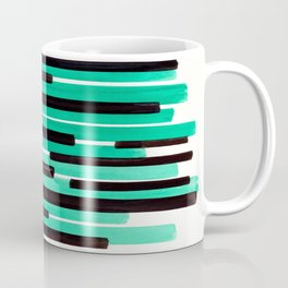 Pastel Teal Primitive Stripes Mid Century Modern Minimalist Watercolor Gouache Painting Colorful Str Coffee Mug