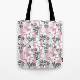 Gray pink floral pattern Tote Bag