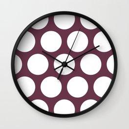 Large Polka Dots: Burgundy Wall Clock