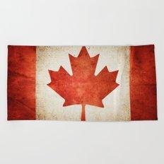 Canada Flag (Grunge) Beach Towel