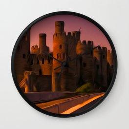 Conway (Conwy) Castle (Digital Art) Wall Clock