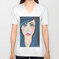 indigo V-neck T-shirts featuring Indigo by Sartoris ART
