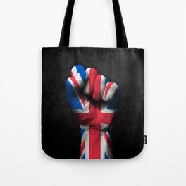 Union Jack Flag of The United Kingdom on a Raised Clenched Fist Tote Bag