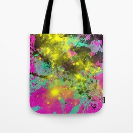 Stargazer - Abstract cyan, black, purple and yellow oil painting Tote Bag