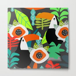 Tropical vibe with toucans Metal Print