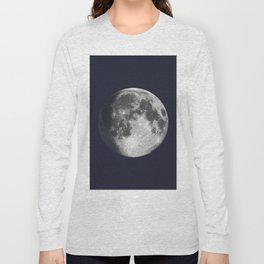 Waxing Gibbous Moon on Navy Long Sleeve T-shirt