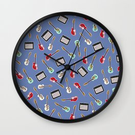 Guitar and Amp Pattern Wall Clock