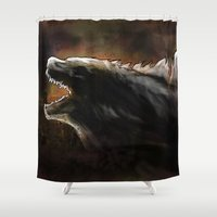 godzilla Shower Curtains featuring Godzilla by Wesley S Abney